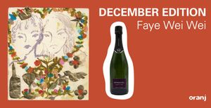 oranj wine banner that says December Edition Faye Wei Wei on an orange background with a painting and a wine bottle.