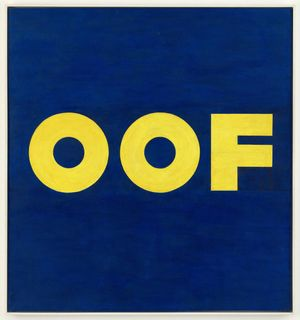 "Edward Ruscha. OOF. 1962 (reworked 1963). Oil on canvas, 71 1/2 × 67"" (181.5 × 170.2 cm). The Museum of Modern Art, New York. © 2020 Edward Ruscha"