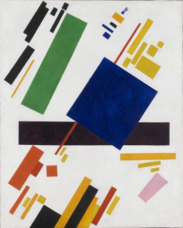 Kazimir Malevich: Suprematist Composition (blue rectangle over the red beam). 1916.